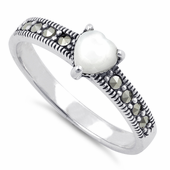 Sterling Silver Mother of Pearl Heart Marcasite Ring