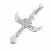 Sterling Silver Winged Cross Clear CZ Pendant