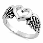 Sterling Silver Wings Heart Ring
