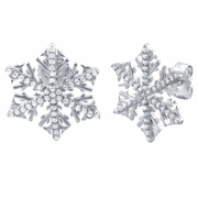 Sterling Silver Winter Snowflake Clear CZ Earrings