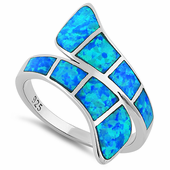 Sterling Silver Wrap Blue Lab Opal Ring
