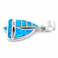 Sterling Silver Sailboat Blue Lab Opal Pendant
