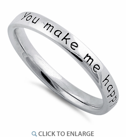 """Sterling Silver """"You Make Me Happy When Skies Are Grey"""" Ring"""