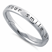 """Sterling Silver """"Your Smile Brightens My World"""" Ring"""