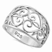 Sterling Silver Caged Heart Ring
