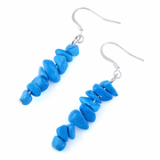 Turquoise Howlite Chips Dangle Earrings