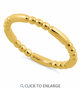 Yellow Gold Plated Stackable Bead and Bar Ring