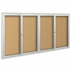 Deluxe Bulletin Board Cabinets 4'H x 12'W - 4 hinged doors