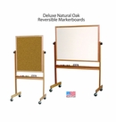 Deluxe Reversible - Oak Trim Portable Markerboards