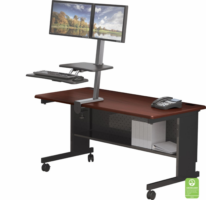 desk mounted sitstand workstation dual monitor