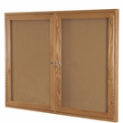 Enclosed Wood Bulletin Board Cabinets - Oak  Finish
