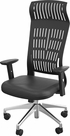 FLY HIGH BACK CHAIR BLACK WITH ADJ ARMS, ALUM BASE