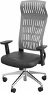 FLY HIGH BACK CHAIR GRAY WITH ADJ ARMS, ALUM BASE