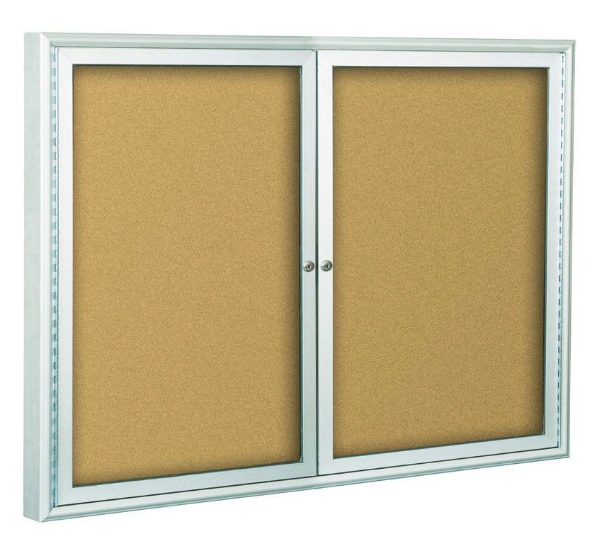 Indoor Drying Cabinet ~ Indoor enclosed bulletin board cabinets silver finish