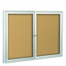 Indoor Enclosed Bulletin Board Cabinets - Silver Finish