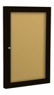 Indoor Enclosed Economy Bulletin Board Cabinets - Coffee Finish