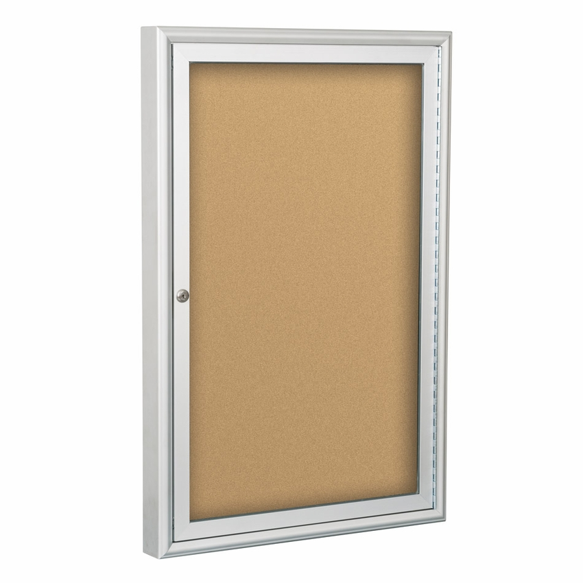 outdoor enclosed bulletin board cabinet silver trim
