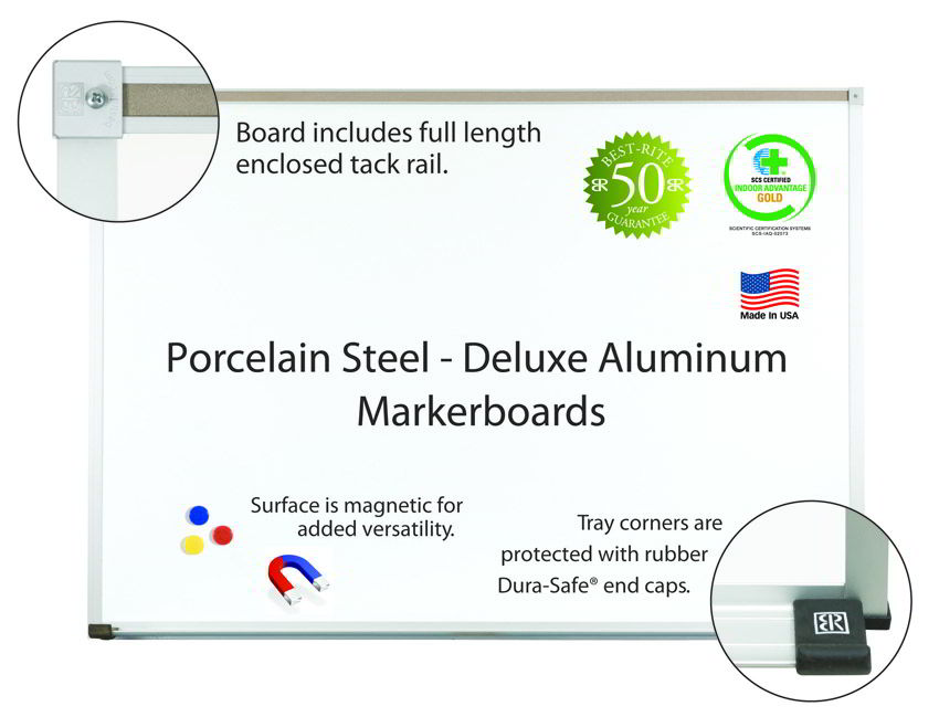 Porcelain Steel Markerboards-aluminum 3'H x 5'W