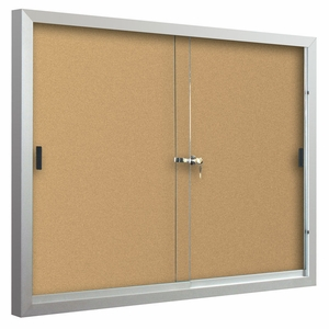 Standard Bulletin Board Cabinets with 2 sliding doors 3'H x 4'W