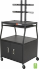 Wide Body Flat Panel TV Cart w/Cabinet