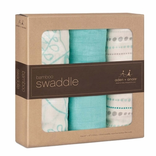 Aden + Anais Bamboo Swaddles 3 Pack - Azure