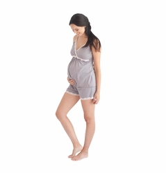Belabumbum Dottie Lace Trim Maternity Nursing Pajama Short Set