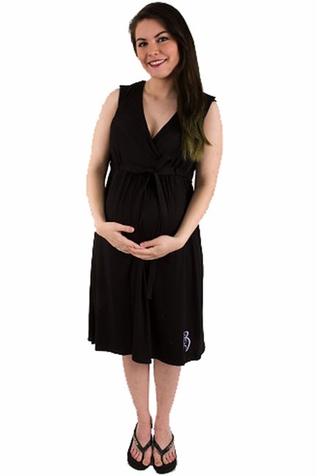 SOLD OUT  BG & Co Birthing Hospital Gown Nursing Night Gown - Nightie-Night Black