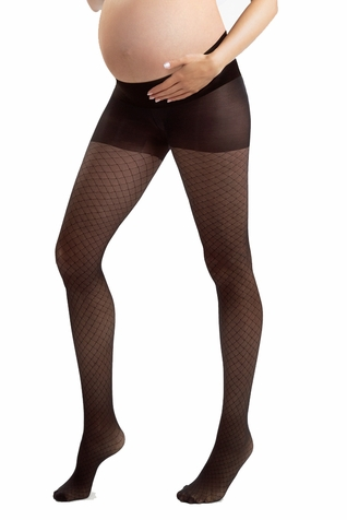 Blanqi Ultra Sheer Low Rise Belly Support Band Maternity Fishnet Printed Pantyhose
