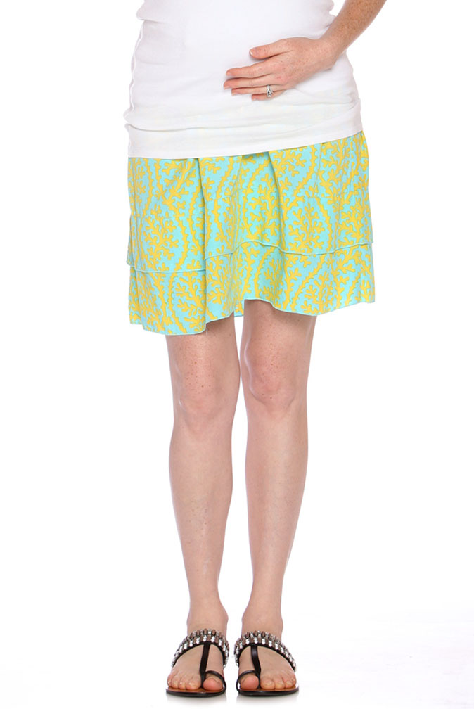 226f2b7e4beac Due Maternity Abigail Pregnancy And Beyond Tiered Skirt - Blue/Yellow | Maternity  Clothes on Sale at Due Maternity