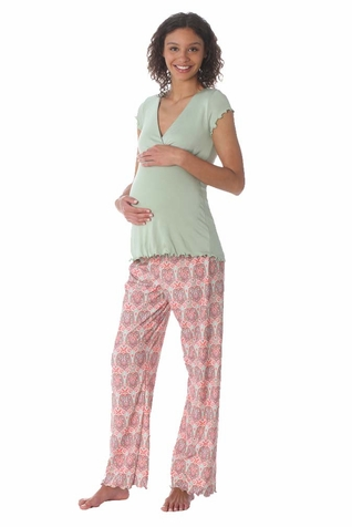 Due Maternity by Majamas Genna Maternity Nursing Pajama Set - Lily/Kazbah