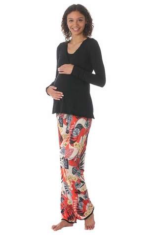 Due Maternity by Majamas Margo Nursing Pajama Set - Black/Barbados