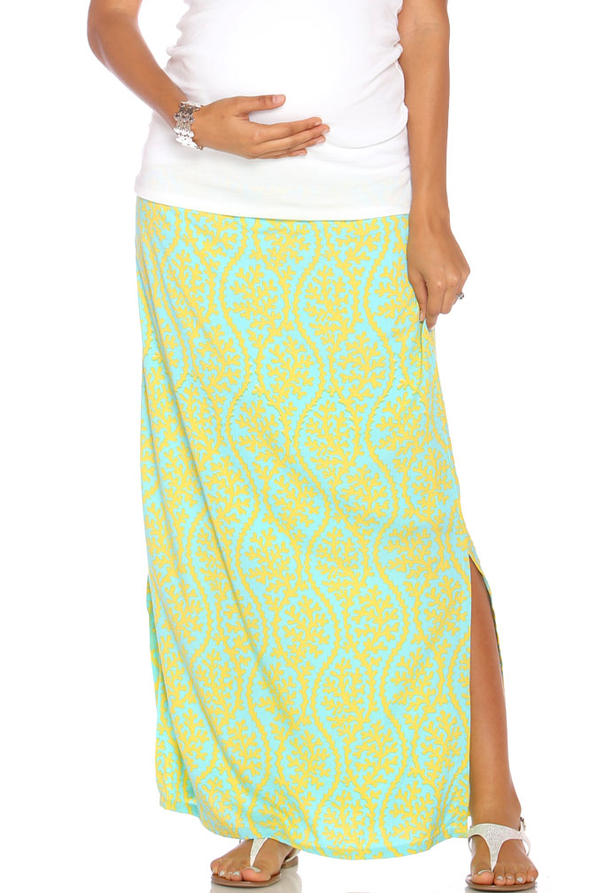 d9faf24c65285 Due Maternity Isabella Pregnancy And Beyond Maxi Skirt - Blue/Yellow | Maternity  Clothes on Sale at Due Maternity