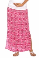 SOLD OUT Due Maternity Isabella Pregnancy And Beyond Maxi Skirt  - Magenta/White