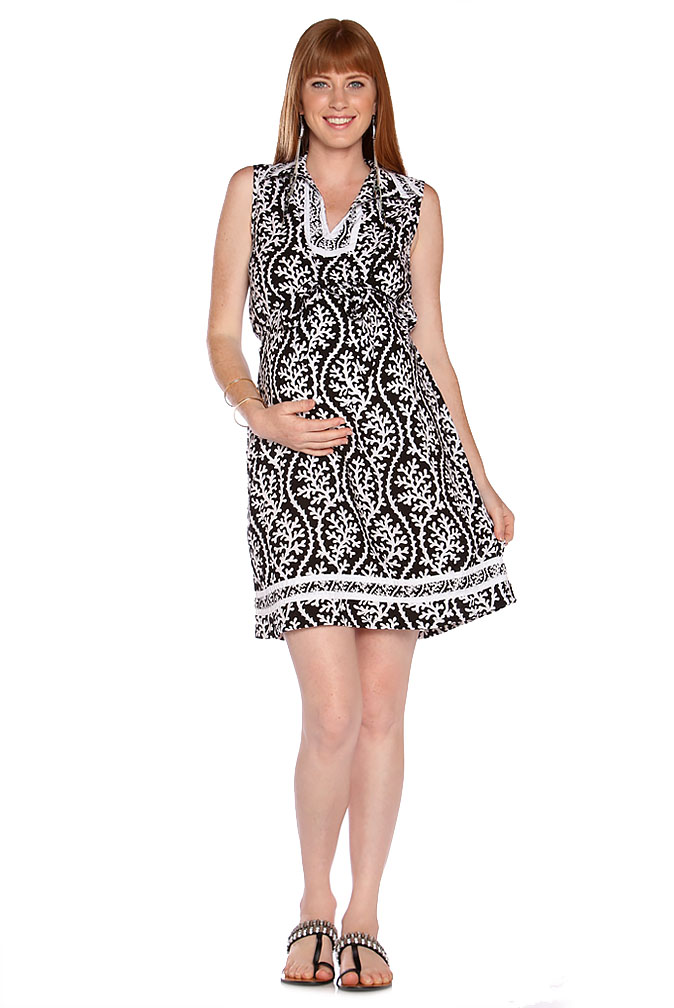Due Maternity Lacey Pregnancy And Beyond Shift Dress Blackwhite