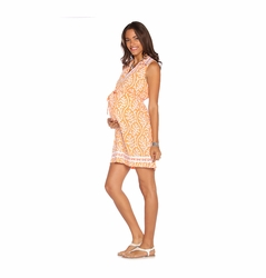 SOLD OUT Due Maternity Lacey Pregnancy And Beyond Shift Dress  - Orange/White