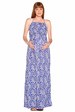 Due Maternity Lauren Pregnancy And Beyond Maxi Dress  - Blue/White