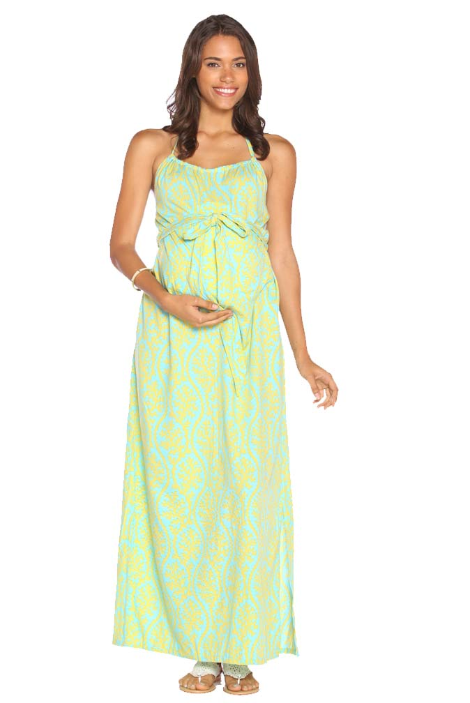 0424d947515 Due Maternity Lauren Pregnancy And Beyond Maxi Dress - Blue Yellow ...