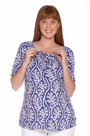 Due Maternity Macy Pregnancy And Beyond Button Front Top - Blue/White