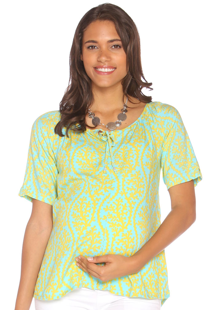 7979747b3ff Due Maternity Macy Pregnancy And Beyond Button Front Top - Blue Yellow