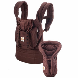 SOLD OUT Ergobaby Bundle Of Joy Organic Carrier And Infant Insert - Dark Chocolate Brown