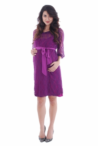 Everly Grey Arianna Lace Maternity Dress With Slip