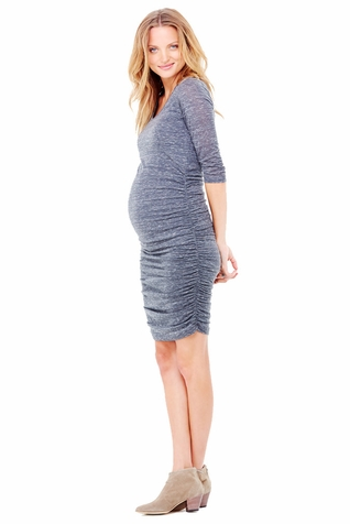 TEMPORARILY OUT OF STOCK Ingrid & Isabel Marble 3/4 Shirred Maternity Dress