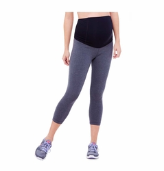 Ingrid & Isabel Maternity Heathered Active Fitness Pant With Crossover Panel - Capri
