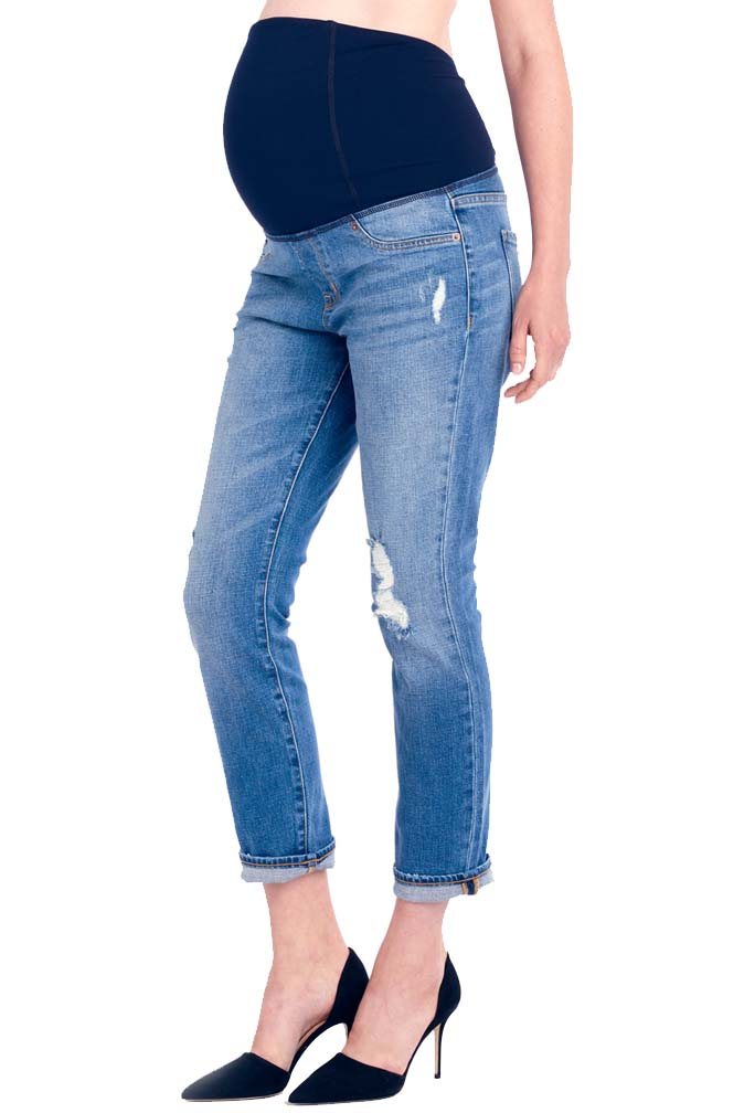Ingrid & Isabel Mia Boyfriend Distressed Maternity Jeans With ...