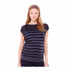 TEMPORARILY OUT OF STOCK Ingrid & Isabel Stripe Mesh Active Maternity Top