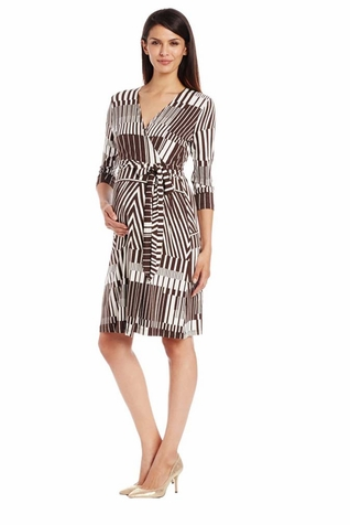 Japanese Weekend 3/4 Sleeve Maternity Nursing Wrap Dress