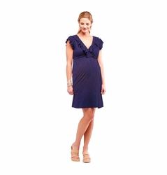 SOLD OUT LA Made Maternity Faux Wrap Dress with Ruffle