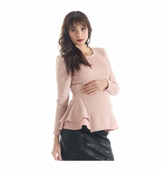 Lilac Morgan Peplum Long Sleeve Maternity Top - Crinkle Knit