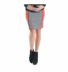 SOLD OUT Lilac Paneled Pencil Maternity Skirt - Houndstooth