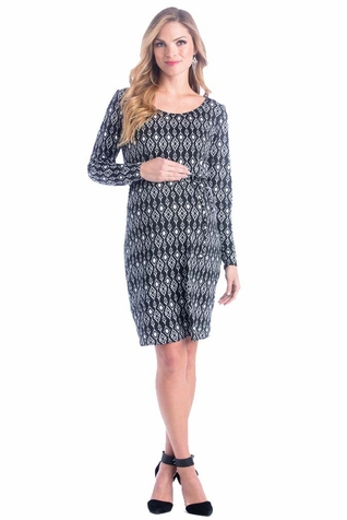 Lilac Print Maternity Shift Dress